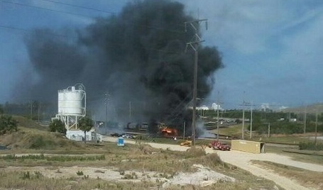Fuel Tanker and Train Collision near Bartow on March 7, 2012; Photo Credit: MyNews13.com