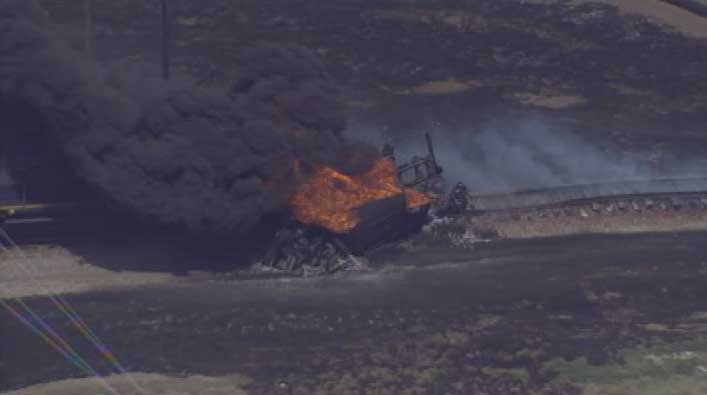 Fuel Tanker and Train Collision (2) near Bartow on March 7, 2012; Photo Credit: MyNews13.com